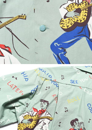 "STAROFHOLLYWOODスターオブハリウッド""KINGOFROCK'N'ROLL""BROADCOTTONS/SOPENSHIRTコットンオープンシャツSH38116-141【2019春夏新作】"