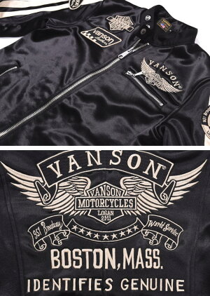 【当店別注】VANSONバンソンライダースフライングエンブレム刺繍&ワッペンボンディングライダースジャケットJFV-802-BLACK