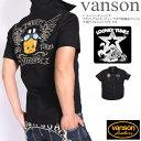 バンソン VANSON × ルーニーテューンズ コラボ メンズ 半袖シャツ フライングトゥイーティー サガラ刺繍&ワッペン 半袖ツイルシャツ …
