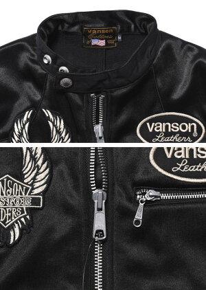 【当店別注】VANSONバンソンライダースフライングファイアースカル刺繍&ワッペンボンディングライダースジャケットJFV-901-BLACK【2019新作】