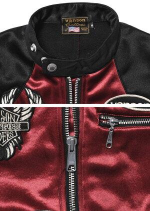 【当店別注】VANSONバンソンライダースフライングファイアースカル刺繍&ワッペンボンディングライダースジャケットJFV-901-WINERED-BLACK【2019新作】