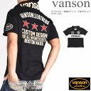 バンソン VANSON ポロシャツ トリプルスター 刺繍&ワッペン 半袖ポロシャツ NVPS-2008-BLACK