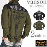 バンソンVANSON長袖シャツトリプルスター刺繍プリントZIPシャツジャケットNVSL-2101【2021春新作】