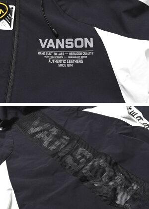 バンソンVANSONパーカーリフレクタープリント高耐水圧・高透湿三層ストレッチナイロンハイネックZIPパーカーNVSZ-2102【2021春新作】