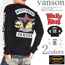 バンソン VANSON × WACKY RACES ワッキーレース コラボ ロンT ケンケン&ワンスター 刺繍プリント 長袖Tシャツ WRV-2017