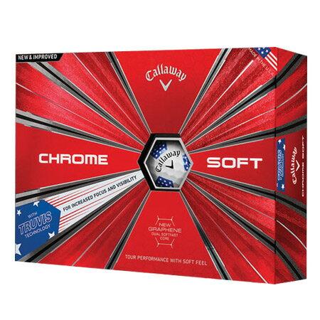 【ゴルフ】【ボール】キャロウェイ CALLAWAY 2018 CHROME SOFT TRUVIS (クロムソフト トゥルービス) ボール 1ダース [STARS AND STRIPES(星条旗柄)](USA直輸入品)