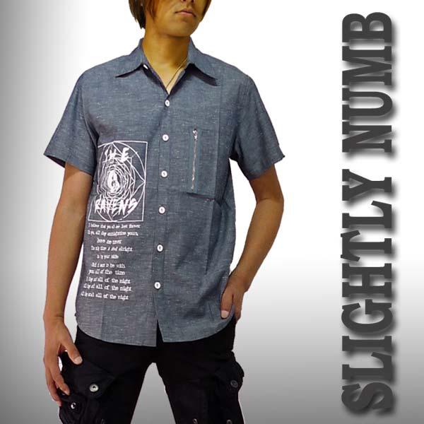 開襟シャツ タイトでシンプルなグレイのダンガリーシャツ!ロックブランドSlighty Numbからデニムシャツ ロックファッション ロック パンク ファッション パンクファッション ロックファッション 着こなし ロック系 パンク系 ロックtシャツ バンドtシャツ