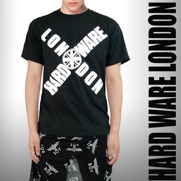 ストリート tシャツ Hard ware london(ハードウェアロンドン)ロゴtシャツ ロック パンク ファッション ロック tシャツ 黒 ブラック 半袖 スケーターファッション ロックtシャツ バンドtシャツ 黒 ブラック 服 おしゃれ) ストリート系 ファッション