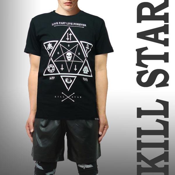 ロックtシャツ バンドtシャツ KILL STAR キルスター ロックTシャツ ユニセックス 魔法陣モチーフのTシャツ KILL STAR パンク ロック ファッション ロック系 パンク系 ロック ファッション ストリート系 ファッション