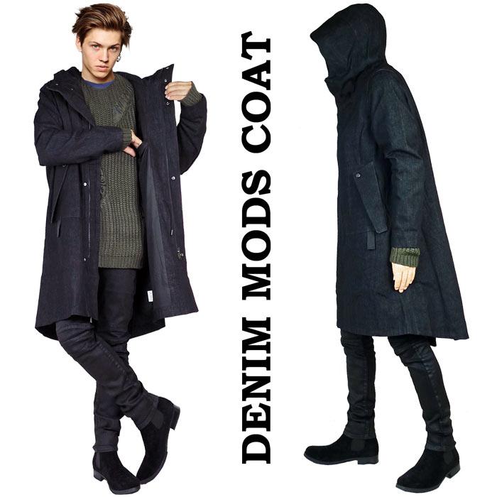 デニムコート モッズコート スプリングコート ブラック ビッグシルエット モッズ コート オーバーサイズ ロングコート ストリート ロック パンク ファッション モード系 アウター メンズ おしゃれ かっこいい