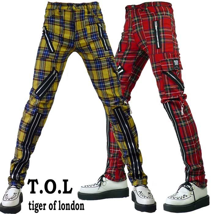 ボンデージパンツ Tiger of London (タイガー オブ ロンドン) チェック柄 ボンテージ パンツ 2カラー ジップ カーゴ ブラック スキニーパンツ rock punk ロック パンク ロック ファッション ブランド 春 コーデ
