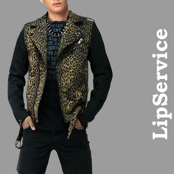ライダースジャケット レオパード柄 袖切り替え LIPSERVICE ライダース デニムライダースジャケット ライダース ロックファッション ロック系 パンク系 ジャケット アウターメンズ
