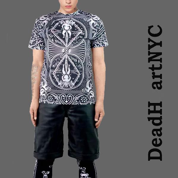 ストリート tシャツ スケーター tシャツ DEAD HEART NYC(デッドハートエヌワイシー)カード総柄Tシャツ ストリート系 ファッション ロック ファッション スケーターファッション 総柄tシャツ パンク ロック ファッション(ロックtシャツ バンドtシャツ 楽天スーパーSALE
