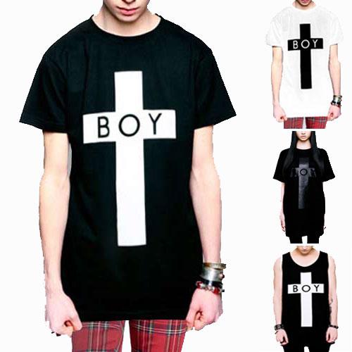 boylondon ボーイロンドン longclothing ロングクロージングTシャツ BOYロゴ+クロスのコラボTシャツ タンクトップ パンク ロックtシャツ バンドtシャツ ロック ファッション メンズ (黒 ブラック tシャツ boy london モード系 long clothing ビッグtシャツ メンズ おしゃれ