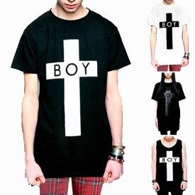 boylondon ボーイロンドン longclothing ロングクロージングTシャツ BOYロゴ+クロスのコラボTシャツ タンクトップ パンク ロックtシャツ バンドtシャツ ロック ファッション メンズ 黒 ブラック boy london モード系 long clothing ビッグtシャツ ストリート 夏