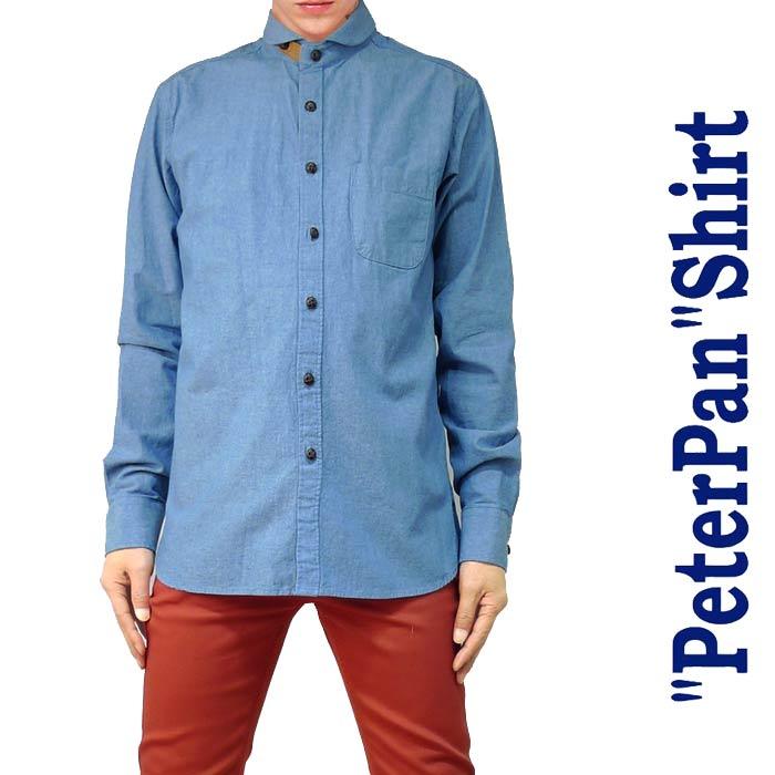 ピーターパンシャツ ダンガリーシャツ!選べる2カラーですロックスタイル、きれい系、ストリート、シャンブレーシャツ、長袖シャツ、デニムシャツ ロック パンク ファッション