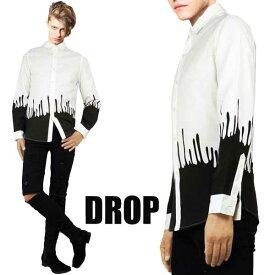 滴(しずく)プリント パターンがインパクト在り過ぎのデザイン シャツ シャツ メンズ シャツ 長袖,プリント シャツ シャツ 柄,ロック ファッション ロック パンク ファッション ストリートファッション WAD モード系