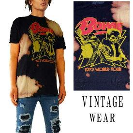 ロックtシャツ VINTAGE WEAR LAヴィンテージウェアー エルエーDAVID BOWI(デヴィッドボウイ) Tシャツ ブリーチ+絞り染タイダイロックtシャツ ストリー系 ビックtシャツ tシャツ パンク ロック ファッション ロック系 ハードコア メタル