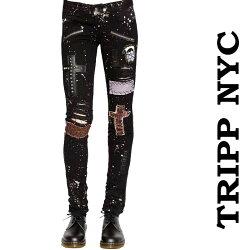 TrippNYトリップニューヨークブリーチアンドスタッズスキニークラストパンツロックパンクパンクロックファッションメンズスキニーパンツ(春夏ボトムスかっこいい春服パンツ春物おしゃれ)