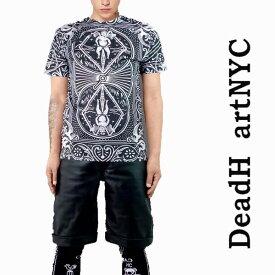 ストリート tシャツ スケーター tシャツ DEAD HEART NYC(デッドハートエヌワイシー)カード総柄Tシャツ ストリート系 ファッション ロック ファッション スケーターファッション 総柄tシャツ パンク ロックtシャツ バンドtシャツ ポイント15倍