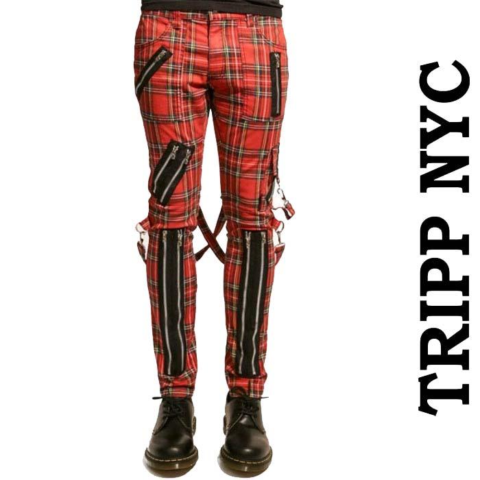 ボンテージパンツ TRIPP NYC(トリップニューヨーク)zipデザイン ボンデージパンツ レッド チェック スキニーパンツ カーゴパンツ 赤 チェック スキニー パンク ロック ファッション ロックファッション メンズ ユニセックス tripp nyc ヘビメタ あす楽
