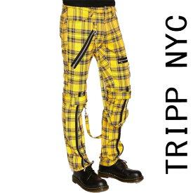ボンテージパンツ TRIPP NYC(トリップニューヨーク)ZIP イエロー チェック スキニー ボンデージパンツ スキニーパンツ パンク ロック ファッション カーゴ ロックファッション メンズ tripp nyc パンクファッション ヘビメタ V系 モード系 ロック系 冬コーデ