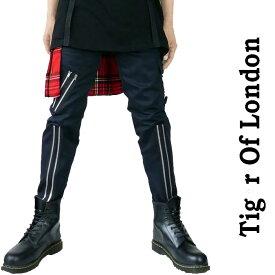 ボンテージパンツ スキニーパンツ メンズ TIGER OF LONDON タイガーオブロンドン ボンデージパンツ ブラック 黒 ユニセックス ロック系 パンク系 パンク ロック ファッション スキニー パンツ セディショナリーズ v系 モード系 zipデザイン かっこいい 夏