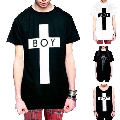 boylondon(ボーイロンドン)longclothing(ロングクロージング)Tシャツ BOYロゴ+クロスのコラボTシャツ ビックtシャツ タンクトップ パンク ロックtシャツ ロック ファッション メンズ(黒 ブラック tシャツ BOY LONDON ストリート tシャツ モード系) long clothing  春