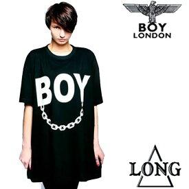 BOYLONDON(ボーイロンドン)long clothing(ロングクロージング)ロゴ+チェーンのコラボTシャツ ビッグtシャツ パンク ロック ファッション longclothing ロックtシャツ バンドtシャツ メンズ 半袖 黒 ブラック ロング丈 boy london パンクファッション モード系 ストリート