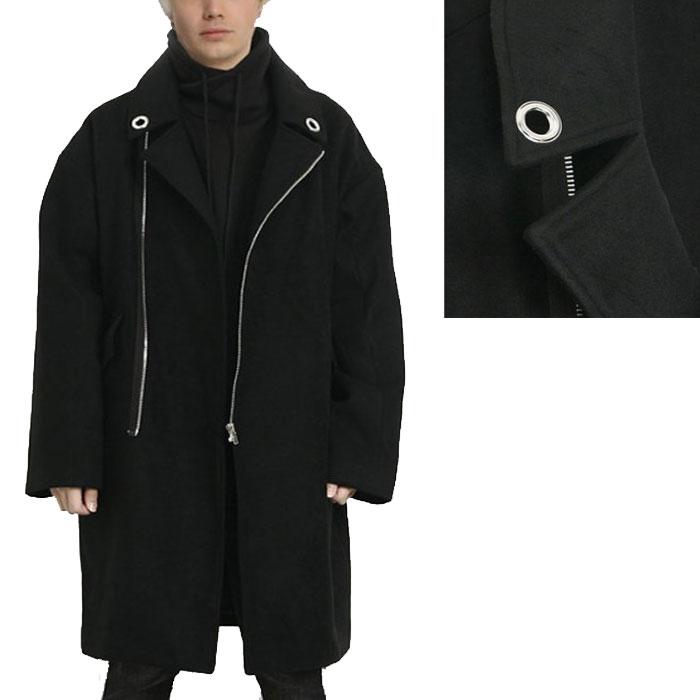 ロングコート メンズ ZIPデザイン ウールコート ハトメ衿 ブラック ウール混紡コート メンズ 黒 アウターメンズ コート ロック ファッション モード ウールコート 送料無料  あったか きれいめ おしゃれ かっこいい オーバーサイズ   春