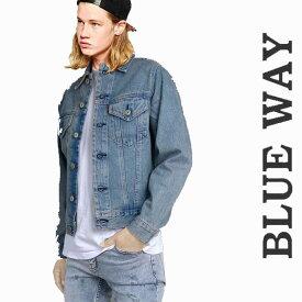 デニムジャケット BLUE WAY ライトブルー ジージャン メンズ/デニム ロック パンク ファッション デニム ライダース メンズアウター ブルーウェイ モード系 バイカー ロカビリー パンクファッション ジャケット gジャン ブルゾン ヘビメタ かっこいい