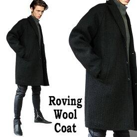 ロングコート メンズ ウールコート ブラック 極太ウール織りのボックスコート チェスターコート オーバーサイズ ビックサイズ メンズ/コート 中長丈 ロック ファッション メンズアウター モード系 ロック系 パンク系
