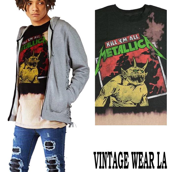 ロックtシャツ ヴィンテージ VINTAGE WEAR LA(ヴィンテージウエアーエルエー)からmetallica(メタリカ)KILL ME ALL グリーン ブリーチ+絞り染(タイダイ)ロックtシャツ バンドtシャツ ビックtシャツ ヴィンテージ tシャツ パンク ロックファッション ハードコア メタル