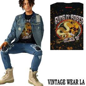 ロックtシャツ VINTAGE WEAR LA ヴィンテージウェアー エルエーからguns n' roses ガンズアンドローゼス ブリーチ+絞り染タイダイ ビックティーシャツ バンドtシャツ ビックtシャツ ヴィンテージ tシャツ パンク ロック ファッション ロックファッション ロック系