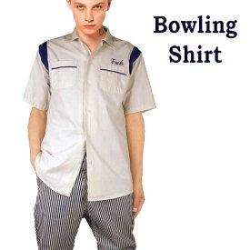 ボーリングシャツ 開襟シャツ FUCK刺繍 ボウリングシャツ メンズ オープンカラー 半袖 オープンカラーシャツ パンク ロック ストリート ファッション 半袖シャツ)ロカビリー モード系 パンクファッション