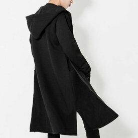 ロングパーカー ビックシルエット パーカー サイドスリット zip カーディガン ゆるトップス ストリート ロック パンク ファッション モード かっこいい アウター メンズ パーカー メンズ オーヴァーサイズ トップス 黒 ブラック