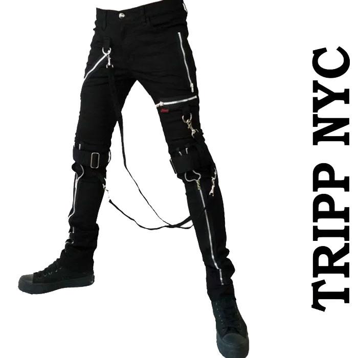 ボンテージパンツ ブラック TRIPP NYC (トリップニューヨーク)ジッパー スキニー スキニーパンツ パンク ロック ファッション スキニー カーゴ ロックファッション メンズ tripp nyc パンクファッション ヘビメタ かっこいい あす楽