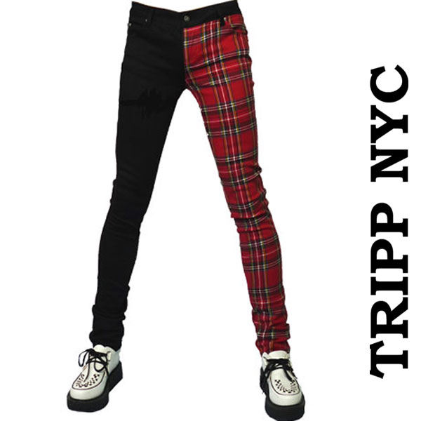 TRIPP NYC(トリップニューヨーク)アシンメトリー スキニーパンツ ブラック レッドチェック アシンメトリースキニー ジーンズ パンクファッション ロックファッション ロック系 モード系 tripp nyc あす楽   秋 冬