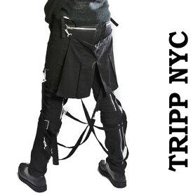 ボンテージパンツ フラップ付き TRIPP NYC (トリップニューヨーク)黒 zip スキニー ボンデージパンツ スキニーパンツ パンク ロック ファッション スキニー カーゴ ロックファッション ブラックジーンズ メンズ tripp nyc パンクファッション ヘビメタ ロック けつあて