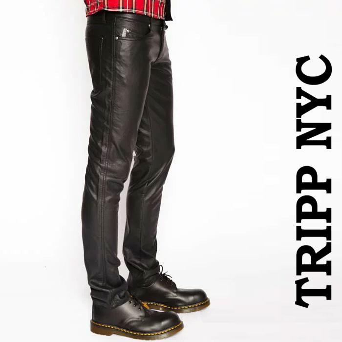 フェイクレザー パンツ メンズ TRIPP NYC PUレザーパンツ スキニーパンツ (メンズ スキニー パンツ メタル パンク ロック ファッション スリム tripp nyc 光沢 ライダース バイカーパンツ ロカビリー モード系 V系 ブラック(トリップニューヨーク)春コーデ