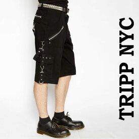ハーフパンツ ボンテージパンツ tripp nyc(トリップニューヨーク)ジップ ボンテージ ハーフ ブラック パンク ロック ファッション カーゴ ロックファッション ブラックジーンズ メンズ TRIPP パンクファッション ヘビメタ ロック系 パンク系 秋コーデ