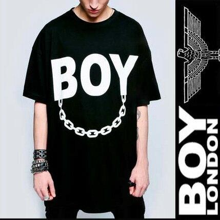 BOYLONDON(ボーイロンドン)long clothing(ロングクロージング)ロゴ+チェーンのコラボTシャツ ビッグtシャツ (パンク ロック ファッション longclothing ロックtシャツ バンドtシャツ メンズ 半袖 黒 ブラック ロング丈 ロックファッション boy london パンクファッション