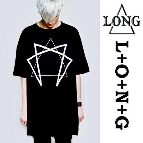 long clothing ロングクロージング EnneagramグラフィックTシャツ/パンクファッション ロック ファッション ロックtシャツ バンドtシャツ BOYLONDON ボーイロンドン (ビッグtシャツ メンズ Tシャツ 幾何学)パンクロック LONG CLOTHING boylondon ロックファッション モード系