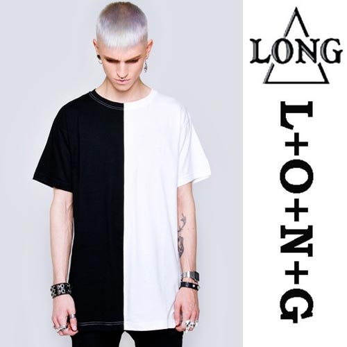LONG CLOTHING ロングクロージング ツートーンTシャツ/BLACK×WHITE パンク ロック ファッション パンク系 ユニセックス BOY LONDON ボーイロンドン BOYLONDON ロックTシャツ(ストリート パンク系 ロック系 tシャツ 黒 白フェス モード系メンズ ストリート系