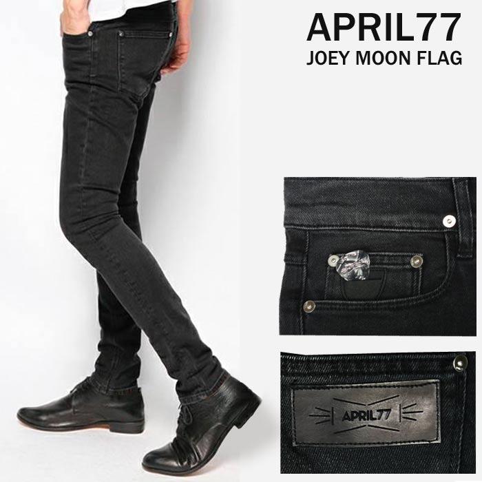 april77(エイプリル77)Joey Moon Flag スキニージーンズ メンズ スキニーパンツ ブラックデニム ブラックジーンズ 黒 色落ち(パンク ロック ファッション ロック服装 スキニーデニム スリム ヴィンテージ)ロカビリー ロック系 モード系 APRIL77