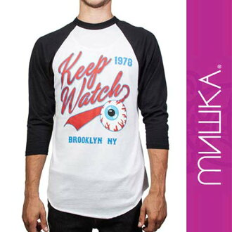 MISHKA (Mishka ) Bleacher seats sports team logo-inspired design, Raglan T shirt, street fashion, rock fashion, skater, punk rock, Hi-standard Yokoyama「the Namba's favorite brand, rock t shirts (street series / men's / tops / shopping and Rakuten) 05P28o