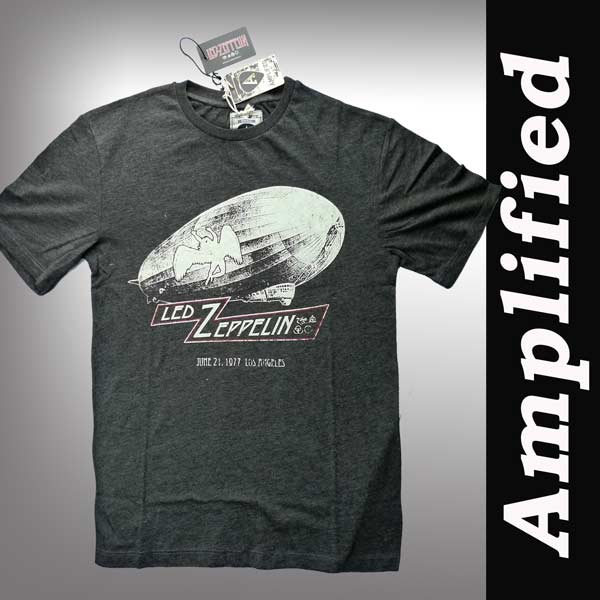 ロックシャツ バンドtシャツ Amplified(アンプリフィード) Led-Zeppelin UStour1977 Tee レッドツェッペリン ヴィンテージ TシャツバンドTシャツ ロック ファッション ROCK パンク グレー 半袖 ロックテイスト ロックtシャツ アンプリファイド (パンク ロック
