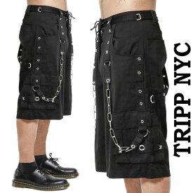 ハーフパンツ TRIPP NYC トリップニューヨーク チェーン ボンテージパンツ パンツ ブラック ユニセックス ロック パンク ファッション ボンテージパンツ 黒 ストリートファッション ヘビメタ かっこいい tripp nyc メンズ 夏