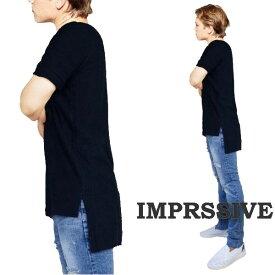 ブラック Tシャツ オーバーサイズ Tシャツ Imprssve ロング丈 段違い メンズ Tシャツ 無地 Tシャツ 半袖 Tシャツ ブランド 厚手 tシャツ おしゃれ メンズ tシャツ 大きい かっこいい tシャツ モード系メンズ  秋