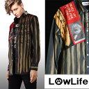 LOW LIFE(ローライフ)アナーキーシャツ グレー ハンドメイド シャツ 長袖 トップス punk セックスピストルズ パンク ロック ファッション パンクファッション ロックファッション ユニセ